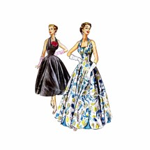 1950's Formal Cocktail Evening Gown Halter Empire Waist Dress McCalls 9662 Vintage Sewing Pattern Size 12 Bust 30