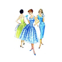 1950s Misses Slim or Full Skirt Dress McCalls 4116 Vintage Sewing Pattern Size 12 Bust 32
