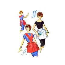 1950s McCalls 2299 Misses Monogram Bib and Half Aprons Vintage Sewing Pattern
