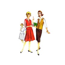1950s Teen Girls Shirt Pleated or Slim Skirt Weskit McCalls 4858 Vintage Sewing Pattern Size 12 Bust 32