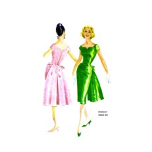 1950s Hannah Troy Designer Sweetheart Cocktail Dress with Back Panel McCalls 5178 Vintage Sewing Pattern Size 16 Bust 36
