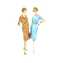 1950s Misses Scoop Neck Dress and Jacket McCalls 5287 Vintage Sewing Pattern Size 14 Bust 34