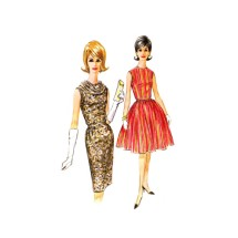 1960s Misses Slim or Full Skirt Dress McCalls 6756 Vintage Sewing Pattern Size 14