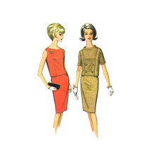 1960s Misses Top Skirt Two Piece Dress McCalls 7618 Vintage Sewing Pattern Size 14