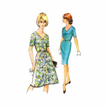 1960s Misses Slim or Full Skirt Dress McCalls 7636 Vintage Sewing Pattern Half Size 14 1/2 Bust 35