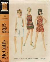 1960s Misses Culotte Dress McCalls 8815 Vintage Sewing Pattern Size 12 Bust 32