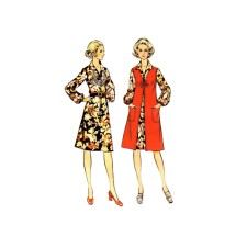 1970s Front Zippered Dress and Vest McCalls 2964 Vintage Sewing Pattern Half Size 18 1/2 Bust 41