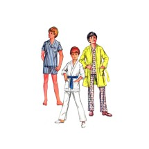 1970s Boys Pajamas Top Pants Robe McCalls 3041 Vintage Sewing Pattern Size 7 Chest 26