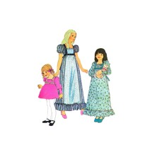 1970s Girls Boho Puff Sleeve High Waist Dress McCalls 3899 Vintage Sewing Pattern Size 7
