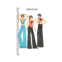 1970s Stephen Burrows Swan Top or Tied Bodice Top and Pants McCalls 4091 Vintage Sewing Pattern Size 12 Bust 34