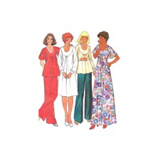 1970s Misses Dress or Top aWide Leg Pants McCalls 5395 Vintage Sewing Pattern Full Figure Half Size 18 1/2 Bust 41