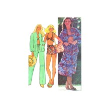 1970s Misses Shirt-Jacket Skirt Pants Shorts Halter Top McCalls 6094 Vintage Sewing Pattern Size 6 - 8 - 10