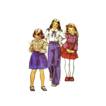 Girls Blouse Pants Skirt McCalls 6309 Vintage Sewing Pattern Size 8