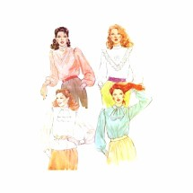 Misses Back Buttoned Blouse McCalls 6872 Vintage Sewing Pattern Size 12 Bust 34