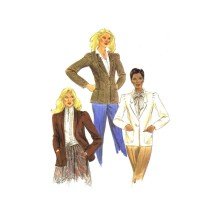 1980s Misses Princess Seam Notched or Shawl Collar Jacket McCalls 7713 Vintage Sewing Pattern Size 10 Bust 32 1/2