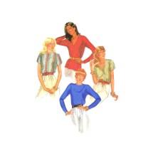 1980s Misses Pullover Round or V-Neckline Blouse McCalls 7883 Vintage Sewing Pattern Size 14 Bust 36