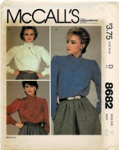 1980s Misses Pullover Blouses McCall's 8682 Vintage Sewing Pattern Size 10 Bust 32 1/2 UNCUT