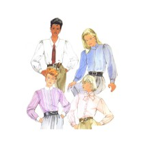 1980s Misses Blouses and Tie McCalls 9170 Vintage Sewing Pattern Size 10 Bust 32 1/2