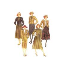 1980s McCalls 2127 Misses Jacket Blouse Tie Skirt Vintage Sewing Pattern Size 16