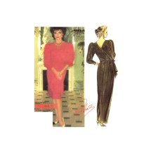 1980s McCalls 2213 Joan Collins Dynasty Surplice V-Neck Evening Dress Vintage Sewing Pattern Size 6