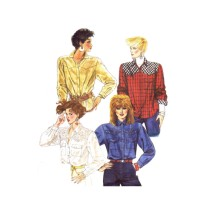 1980s McCalls 2218 Misses Shirt Vintage Sewing Pattern Size 10 Bust 32 1/2