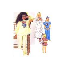 McCalls 2240 Girls Nightgown Pajamas Raggedy Ann & Andy Transfer Sewing Pattern Size 10 - 12