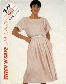 1980s Misses Pullover Top and Gathered Skirt McCalls 9467 Vintage Sewing Pattern Size 6 - 8 - 10