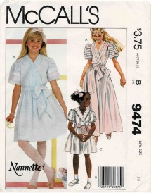 1980s Girls Puff Sleeve Pullover Dress and Sash Nannette McCalls 9474 Vintage Sewing Pattern Size 10