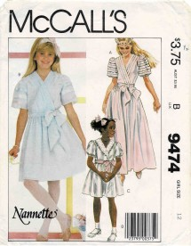1980s Girls Puff Sleeve Pullover Dress and Sash Nannette McCalls 9474 Vintage Sewing Pattern Size 12