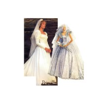 McCalls 2342 Misses Bridal Gown Priscilla Wedding Dress Vintage Sewing Pattern Size 6 - 8 - 10