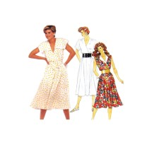 Misses Pullover Flared Dress and Tie Belt McCalls 2414 Vintage Sewing Pattern Size 10