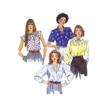 Misses Front Buttoned Blouses McCalls 2418 Vintage Sewing Pattern Size 8 Bust 31 1/2