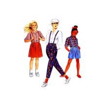 1980s Girls Shirt Pants Shorts Skirt McCalls 2570 Vintage Sewing Pattern 12 - 14