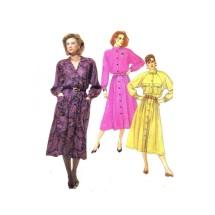 1980s Misses Shirtwaist Dress and Belt McCalls 2608 Vintage Sewing Pattern Size 14 Bust 36