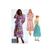 1980s Misses Jacket Dropped Waist Shoulder Strap Dress McCalls 3142 Vintage Sewing Pattern Size 10 Bust 32 1/2