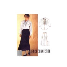 1980s Misses Front Button Shirt Pull-On Skirt French Connection McCalls 3339 Vintage Sewing Pattern Size 10 Bust 32 1/2