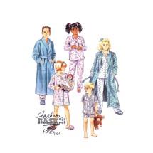 Boys or Girls Robe Tie Belt Nightshirt Pajamas McCalls 6148 Vintage Sewing Pattern Size 2 - 4
