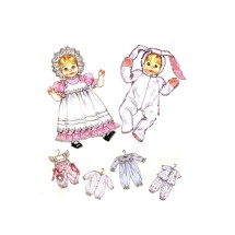 Baby Doll Clothes Dress Pinafore Hat Jumpsuit Sleeper Romper Top Pants Bunny Suit McCalls 732 Vintage Sewing Pattern