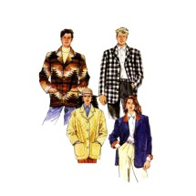 Misses and Mens Lined or Unlined Oversized Jacket McCalls 6684 Sewing Pattern Size S - M - L