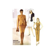 Misses Princess Seam Front Scalloped Jacket and Slim Skirt in Two Lengths McCalls 6994 Vintage Sewing Pattern Size 10 - 12 - 14 Bust 32 1/2 - 34 - 36