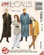 Misses 3-Hour Lined or Unlined Oversized Coat Jacket and Vest McCalls 7536 Vintage Sewing Pattern Size 16 - 18 - 20 - 22 Bust 38 - 40 - 42 - 44