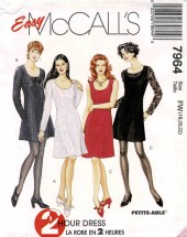 Misses 2-Hour Princess Seam Dress McCalls 7964 Vintage Sewing Pattern Size 18 - 20 - 22 Bust 40 - 42 - 44