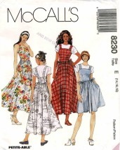 Misses Sundress or Jumper in Two Lengths McCalls 8230 Vintage Sewing Pattern Size 14 - 16 - 18 Bust 36 - 38 - 40