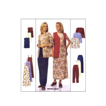 Misses Cardigan Vest Slipdress Pull-On Pants McCalls 9412 Sewing Pattern Size 14 - 16 - 18