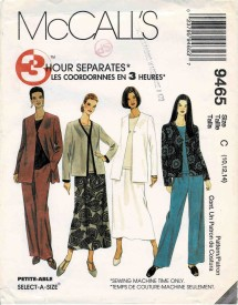 1990s Misses Cardigan Jacket Top Pants and Skirt McCalls 9465 Vintage Sewing Pattern Size 10 - 12 - 14