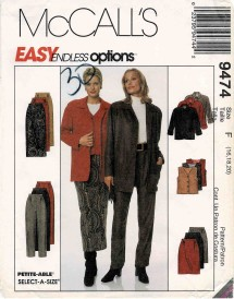 1990s Misses Unlined Jacket Lined Vest Pants and Skirt in Two Lengths McCalls 9474 Vintage Sewing Pattern Size 16 - 18 - 20 Bust 40 - 42 - 44