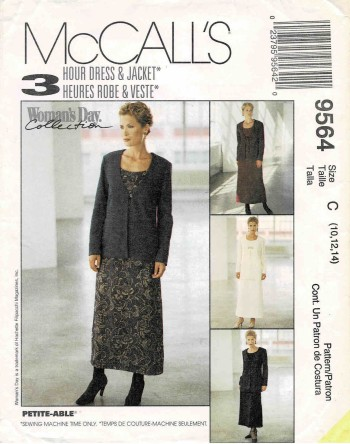 1990s Misses Dress and Jacket in Two Lengths McCall's 9564 Sewing Pattern Size 10 - 12 - 14 UNCUT