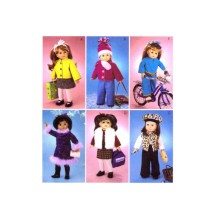 "18"" Doll Clothes Jacket Top Skirt Flared Pants Hat Scarf Vest Beret McCalls 3474 Sewing Pattern"