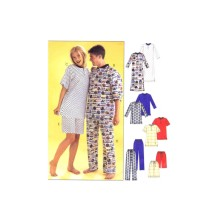 Misses Mens Teen Boys Nightshirt Tops Pants Shorts Pajamas McCalls 3849 Sewing Pattern Size XS - S - M