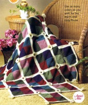 Mitered Square in a Trellis Afghan Crochet Pattern Annies Scrap Crochet Club